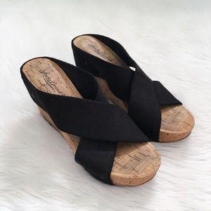Lucky Brand Black Miller Cork Wedge Sandals